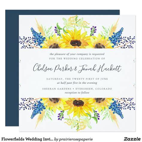 Flowerfields Wedding Invitation Square Zazzle com in