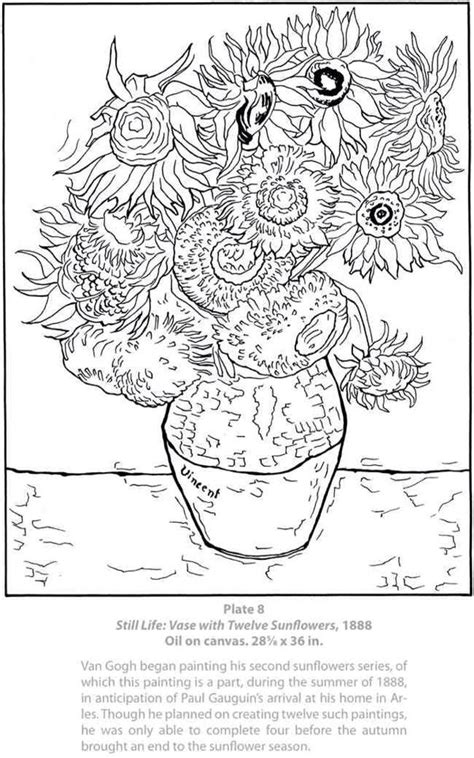 van gogh coloring books sunflower coloring pages