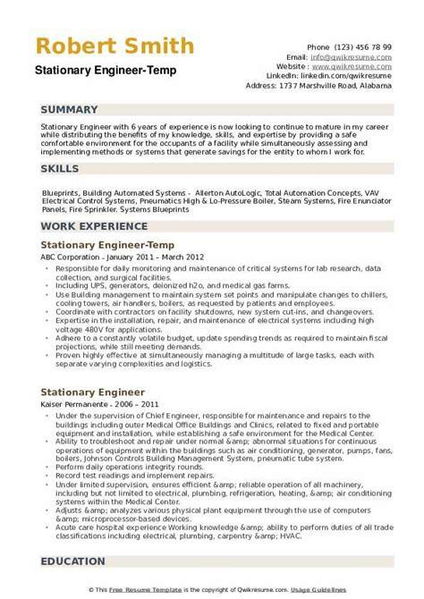 stationary engineer resume samples qwikresume