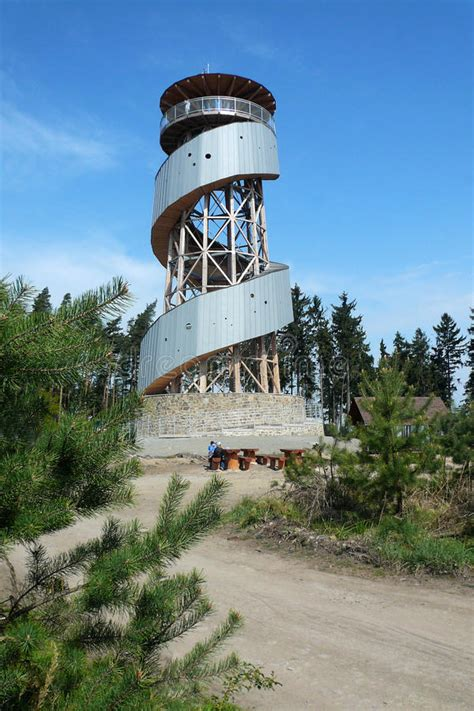 The New Viewing Tower On The Hill Kosir Stock Photo ...