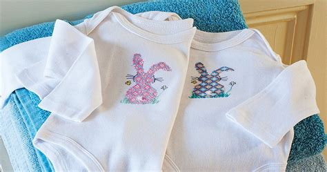 cross stitch bunny baby grow  craft project