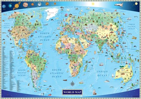 illustrated map   world  kids mapscom