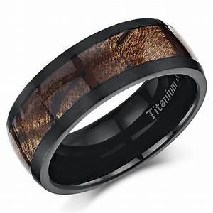 Black titanium wedding ring band ring with koa wood inlay for Wedding ring black titanium