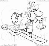 Hopscotch Playing Clipart Cartoon Lineart Businessman Illustration Royalty Toonaday Vector Leishman Ron sketch template
