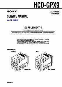 Sony Cmt-gpx9dab  Hcd-gpx9 Service Manual