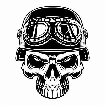 Skull Biker Vector Background Illustration Helmet Wrench