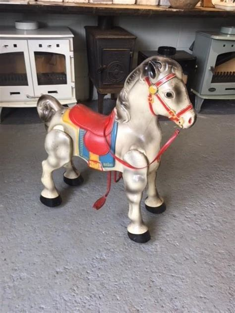 anitque childs metal ride horse