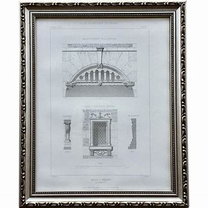 French Framed Architectural Maison Frame Engraving 19th