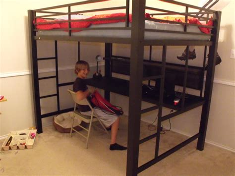 loft bed with desk full size mattress black metal full size loft bed with long desk underneath