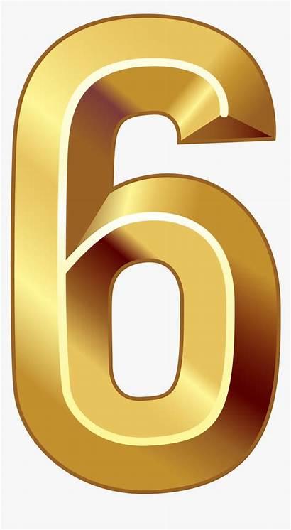 Number Gold Six Clipart Transparent Pngitem
