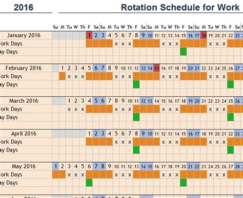rotating schedule template rotation schedule for work my excel templates