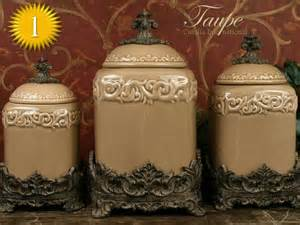 Canisters Kitchen Decor Design Quot Taupe Quot Large Kitchen Canister Set Of 3 Top Seller World Decor