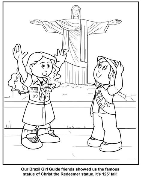 brazilian girl guide coloring page brazil thinking day