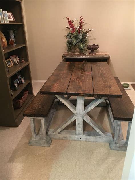 handmade farmhouse table  benches handmade furniture