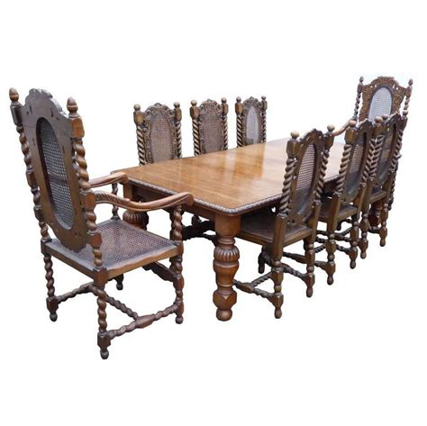 solid oak dining table and eight chairs for sale