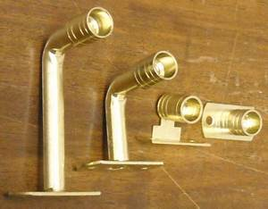 Solid 3 8 inch curtain rod and brackets and rings for Curtain rod brackets inside mount