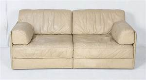 Rare off white de sede ds 76 sectional two seat sofa bed for 76 sectional sofa
