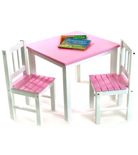 lipper international table chair set in pink and