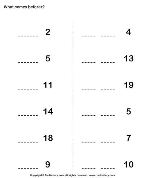 no preschool before kindergarten number that comes before worksheet turtle diary 261