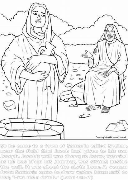 Well Woman Coloring Jesus Bible Pages Sunday