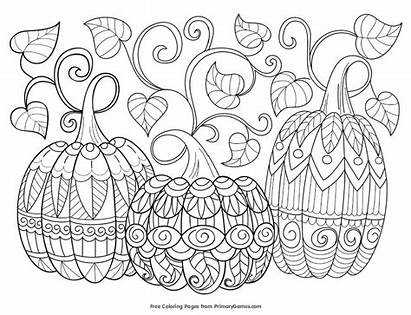 Coloring Fall Autumn Games Primary Pumpkins Vines