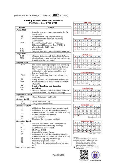 deped school calendar  activities  school year