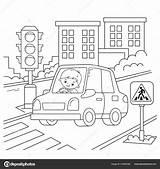 Coloring Cartoon Outline Traffic Road Transport Children Vector Illustration Driver Vehicle License Depositphotos sketch template