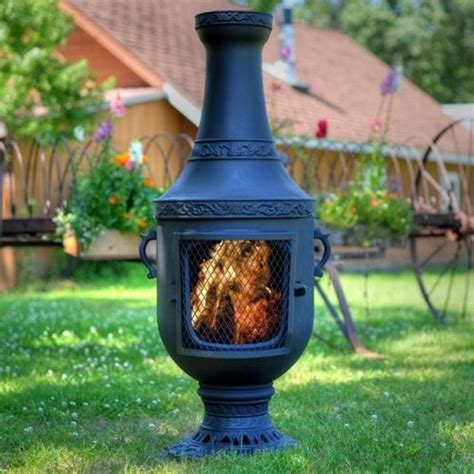Chiminea Outdoor Fireplace by The Blue Rooster Venetian Style Cast Aluminum Chiminea