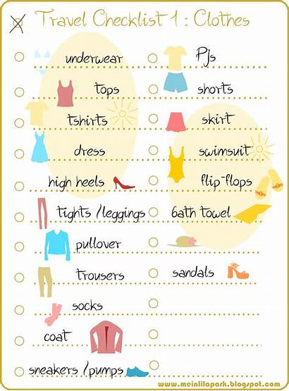 Checklist Travel Packing Printable Clothes Packliste Colorful