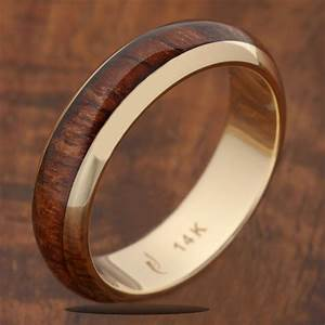 14k solid yellow gold with koa wood inlay wedding ring 5mm With koa wedding rings