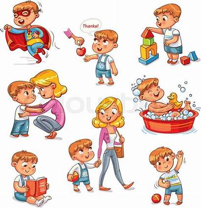 Cartoon Routine Activities Daily Kid Vector Boy