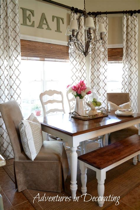 kitchen curtain ideas bay window farmhouse table bench and different chairs Farmhouse