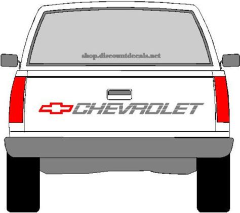 Chevrolet Truck Tailgate Decal  Red Bowtie With Silver