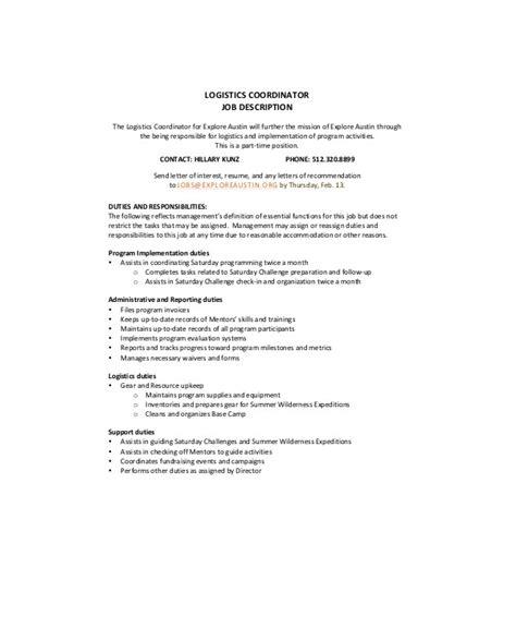 logistics coordinator description sle 9 exles