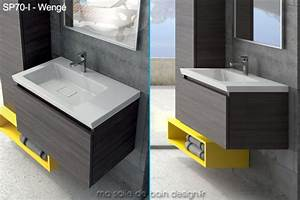 meuble mural moderne avec lavabo ceramique integre 70 x 44 With meuble vasque salle de bain 70 cm