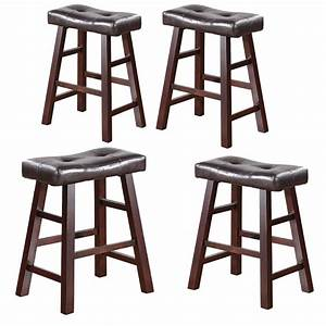 Set, Of, 4, Barstools, Bar, Stool, Kitchen, Counter, Height, Wooden, Espresso, Color, 24, U201d, High