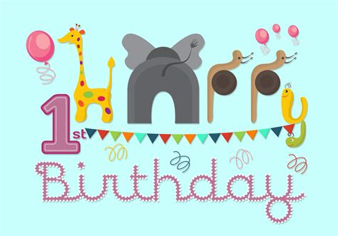 Download svgs, cut files, embroidery, paper cutting, scrapbooking and more. Vector Illustration of 1st Birthday Card - Download Free ...