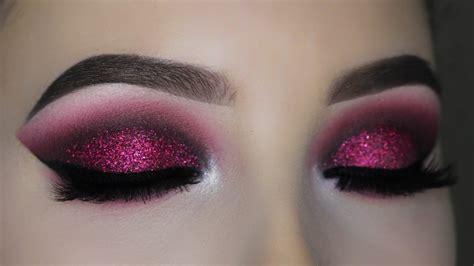 smokey red burgundy glitter eye makeup tutorial youtube