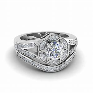 round cut floral halo split diamond wedding ring set in With round engagement ring with wedding band