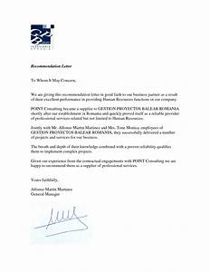 business recommendation letter example best template With recommendation letter for a company template