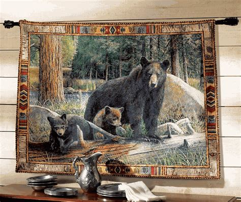 black bear tapestry wall hanging