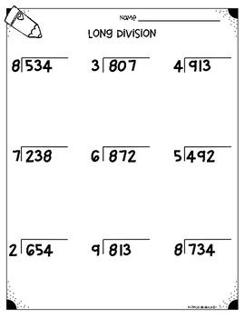 long division worksheets 4 nbt b6 5 nbt b6 by monica abarca tpt