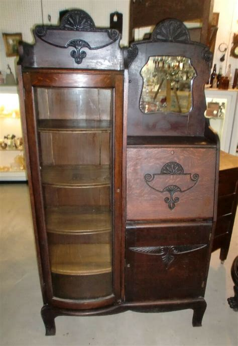 antique  finish oak side  side secretary bookcase