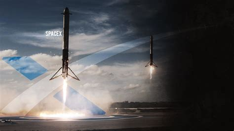 Wallpaper I made of the Falcon Heavy side boosters landing