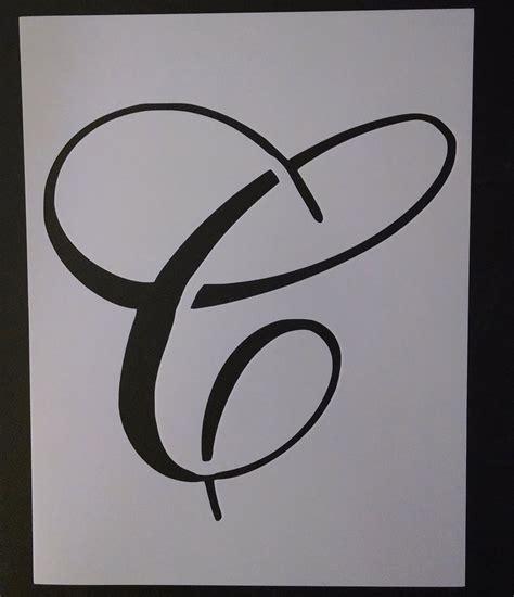 big script cursive letter  stencil