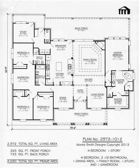 Bedroom Floor Exercises by 1 Story 4 Bedroom 3 5 Bathroom 1 Dining Room 1 Family
