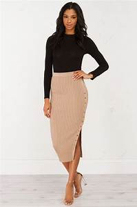Ec Conversion Chart Ribbed Slit Midi Skirt In Black And Mocha