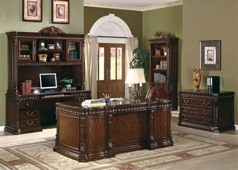 rich brown finish classic office desk w carving details
