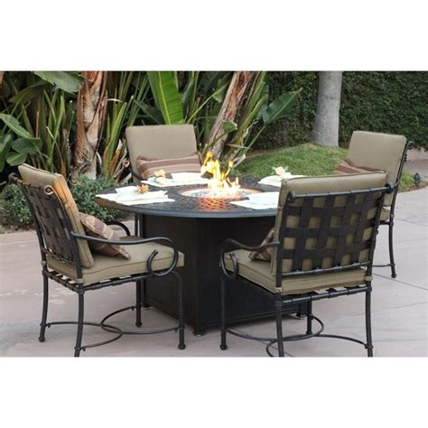 Darlee Malibu 5 Piece Patio Fire Pit Dining Set In Antique