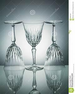 Crystal Glasses With Reflection On White Illuminated ...